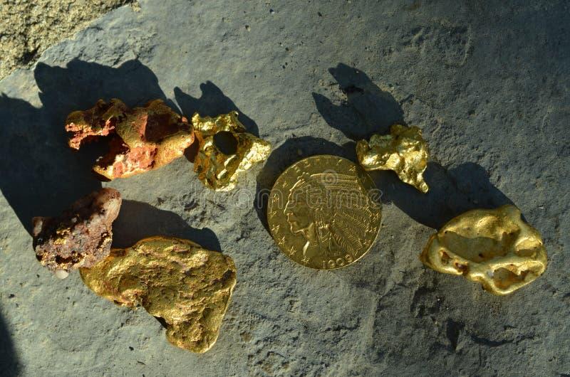 Natuurlijk goud en een Amerikaanse gouden muntstuk genomen oudtoors stock afbeelding