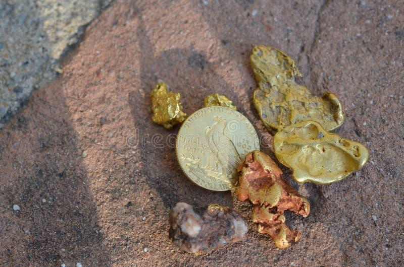 Natuurlijk goud en een Amerikaanse gouden muntstuk genomen oudtoors stock fotografie