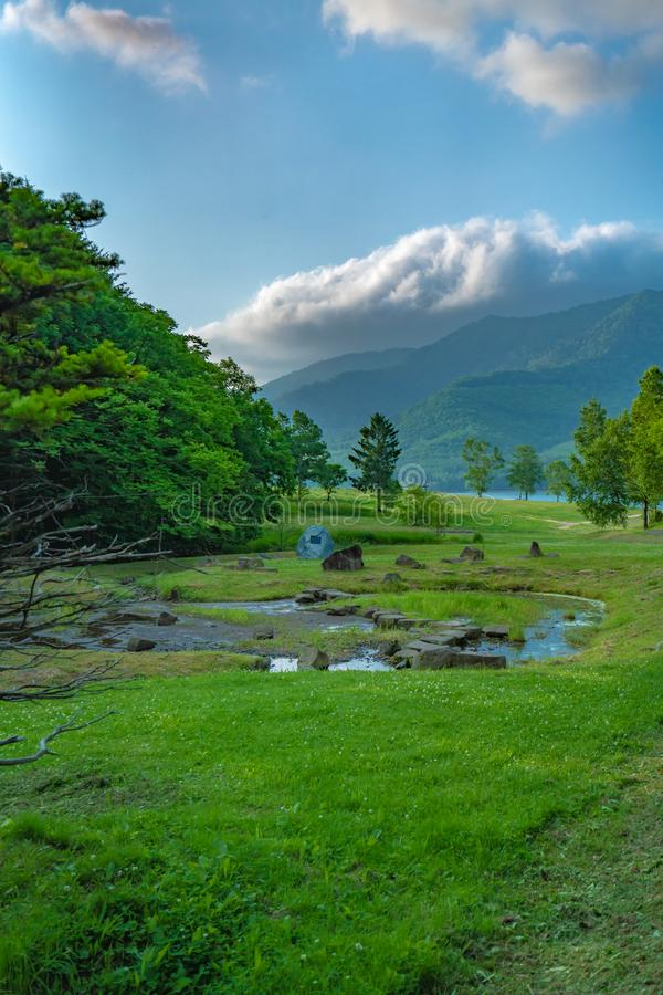 Natuurlijk Groen Landschap met Mountain View stock afbeeldingen