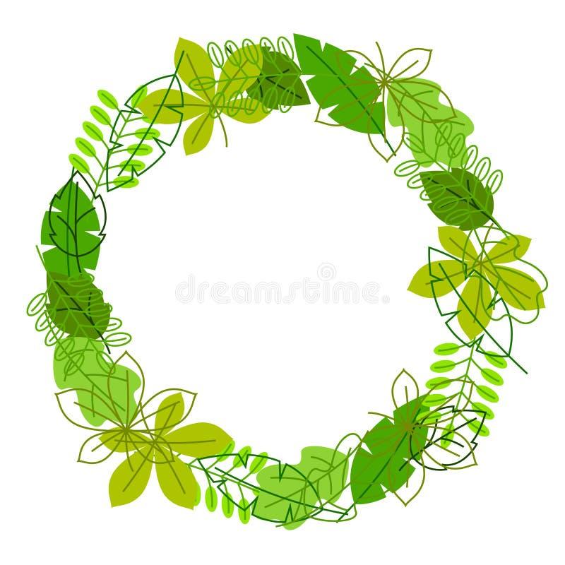 Natuurlijk kader met gestileerde groene bladeren De lente of de zomergebladerte stock illustratie