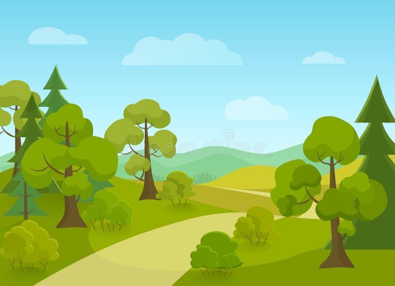 Natuurlijk landschap met dorpsweg en bomen De vectorillustratie van het beeldverhaal stock illustratie