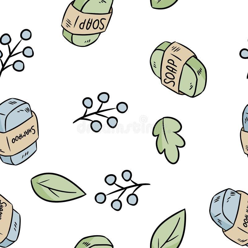 Natuurlijk materieel zeep en shampoo naadloos patroon Ecologisch en nul-afval product Groen huis en hetvrije leven stock illustratie