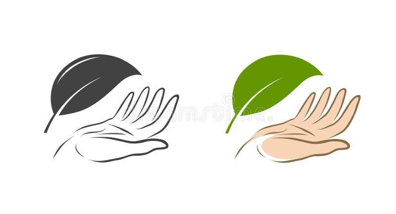 Natuurlijk, organisch embleem Ecologie, natuurbeschermingpictogram of symbool Vector illustratie stock illustratie