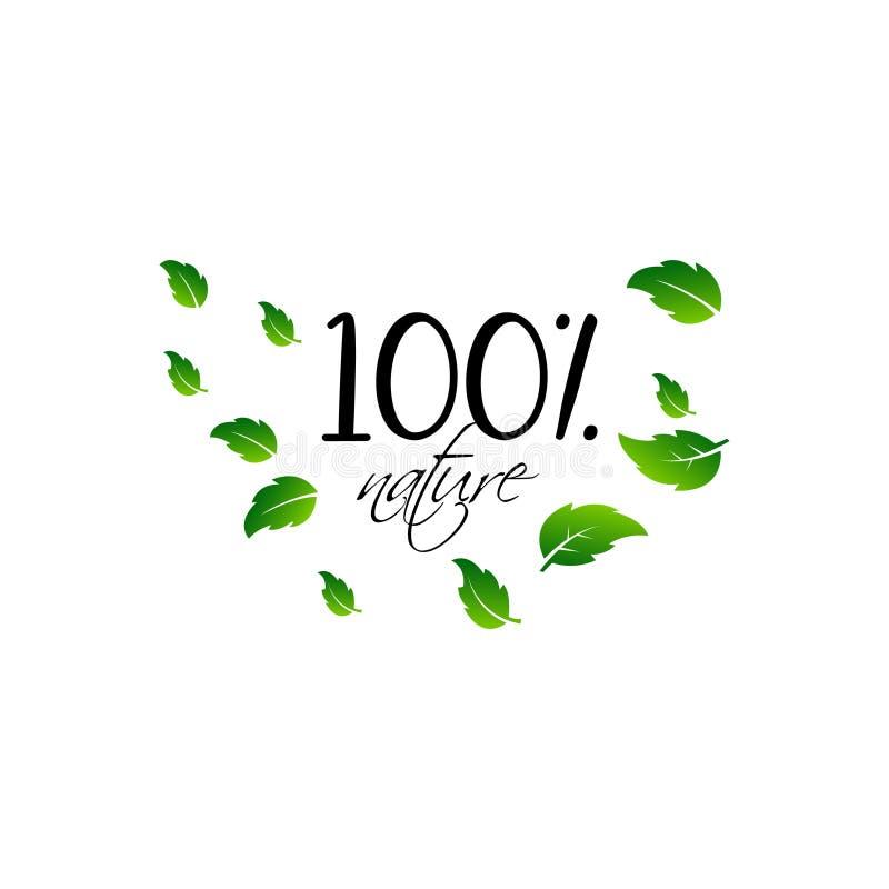 Natuurlijk product 100 bio gezond organisch etiket en hoog - de kentekens van het kwaliteitsproduct royalty-vrije illustratie