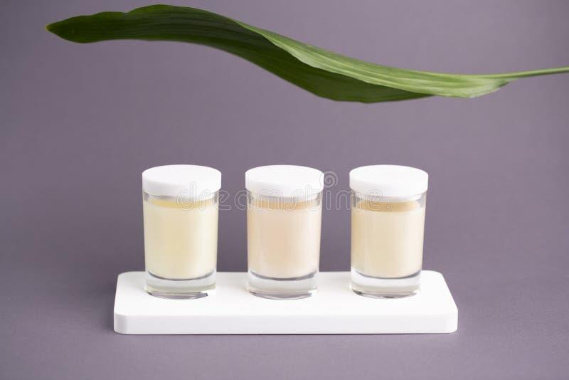 Natuurlijk schoonheidsmiddelenconcept: drie kosmetische kruiken met kaarsroom en blad, tak met groene bladeren Grijze achtergrond stock afbeeldingen