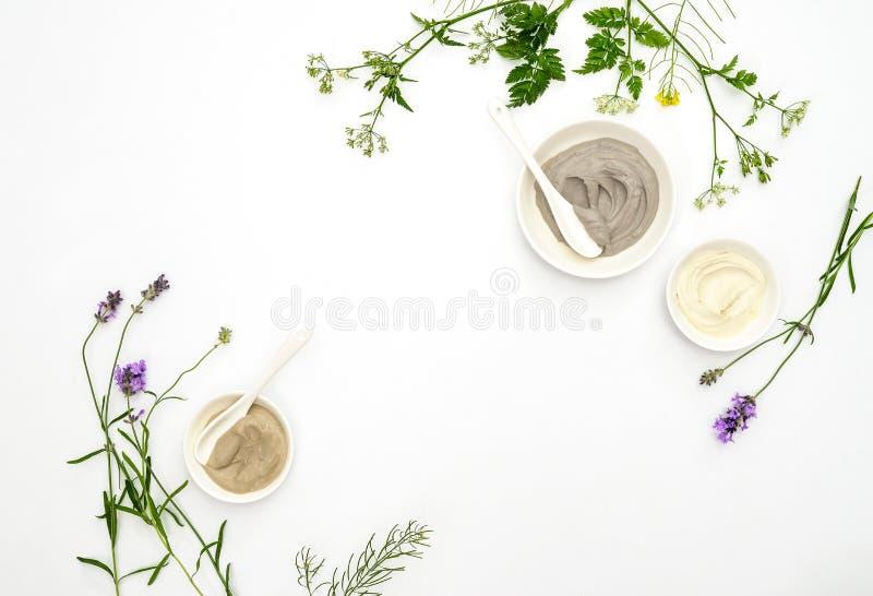 Natuurlijk schoonheidsmiddelenconcept met diverse soorten kosmetische klei a stock foto's