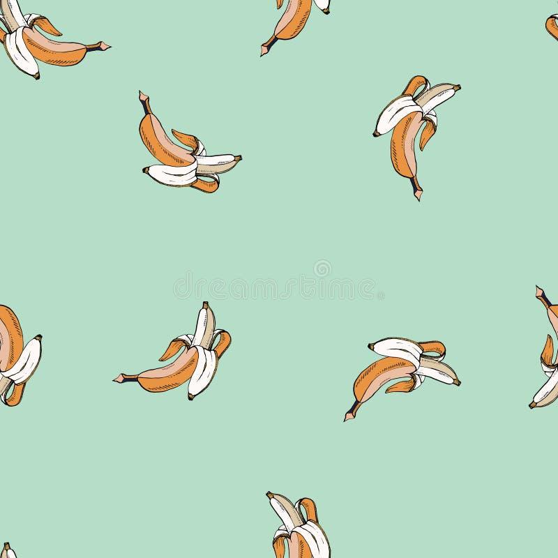 Natuurlijk vector gekleurd bananen turkoois patroon royalty-vrije illustratie