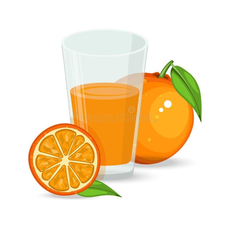 Natuurlijk vers jus d'orange in een glas Oranje plak, buis voor het drinken Gezonde natuurvoeding Citroenen en kalk stock illustratie