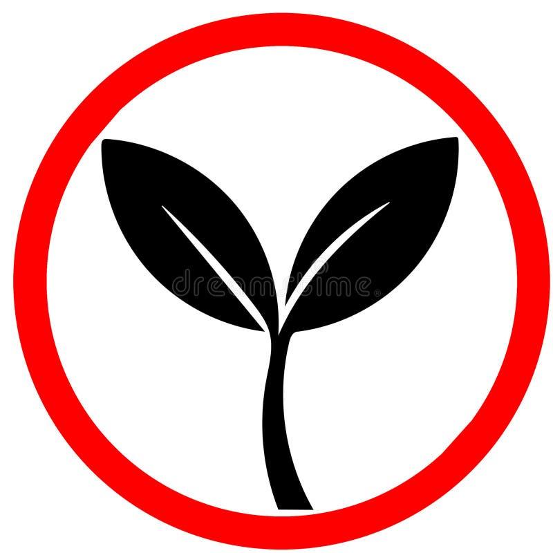natuurlijke 100%, biologisch product, ecologie, aardontwerp Groene bladeren, bio, de rode cirkelverkeersteken van het ecoetiket vector illustratie
