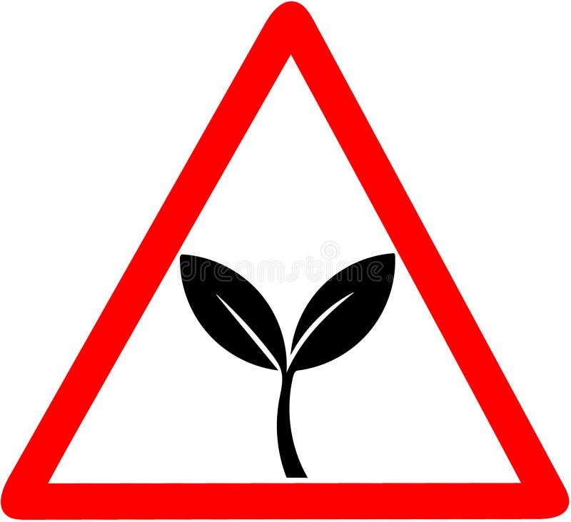 natuurlijke 100%, biologisch product, ecologie, aardontwerp Groene bladeren, bio, de rode driehoekige verkeersteken van het ecoet royalty-vrije illustratie