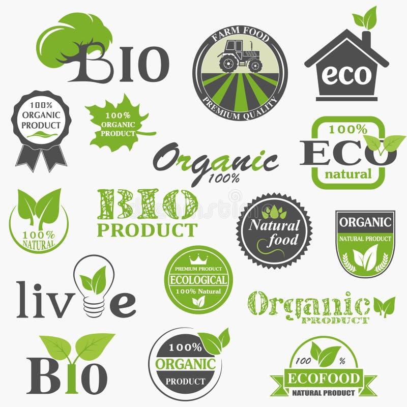 Natuurlijke biologisch productetiketten stock illustratie