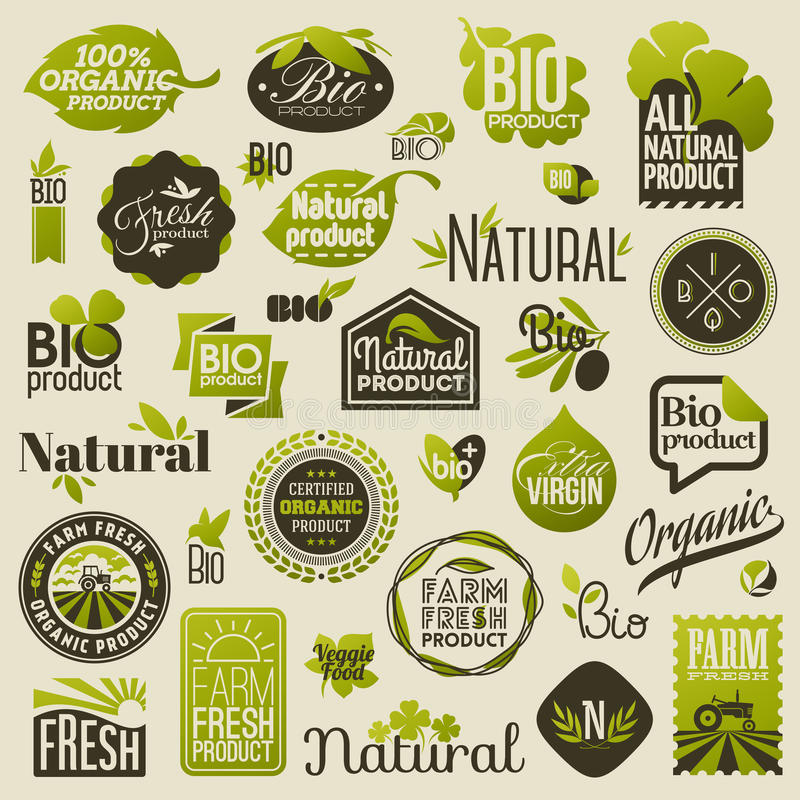 Natuurlijke biologisch productetiketten en emblemen. Reeks vectoren royalty-vrije illustratie