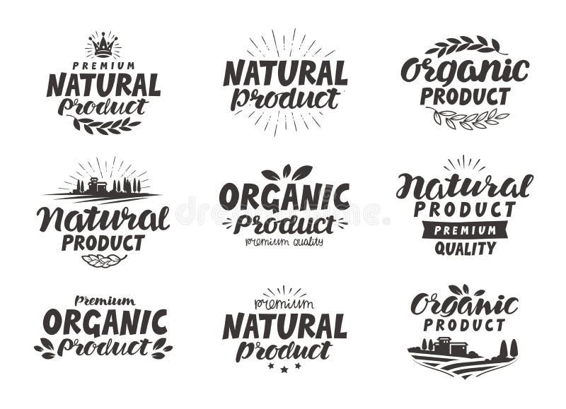 Natuurlijke, Biologisch productpictogrammen of symbolen Mooi het van letters voorzien ontwerp van verpakking vector illustratie