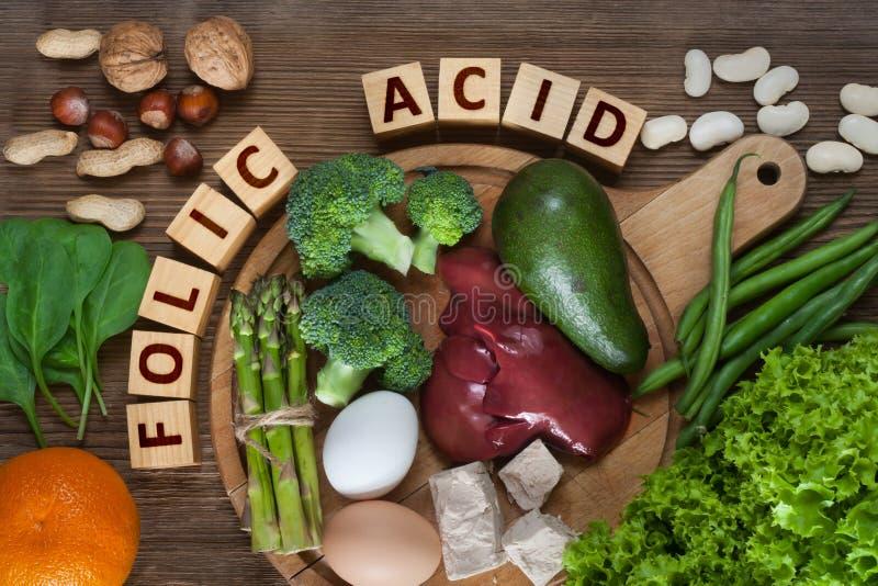 Natuurlijke bronnen van folic zuur stock foto's