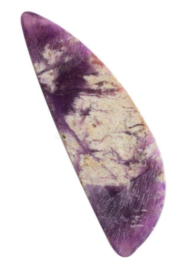 Natuurlijke cabochon van glanzende vesuvianitemacro royalty-vrije stock afbeelding