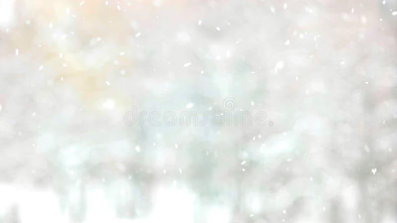Natuurlijke dalende sneeuw op vage achtergrond stock fotografie