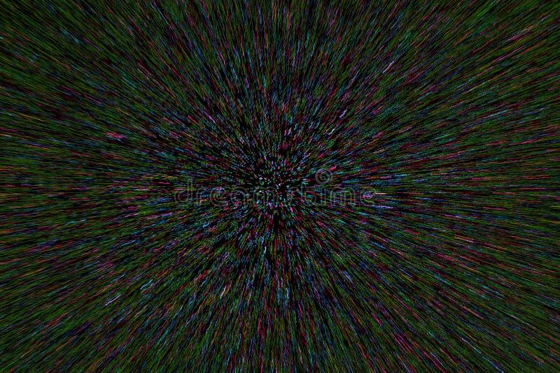 Natuurlijke de explosie radiale vage cyaan groene purpere punten van het lensgezoem op zwarte achtergrond royalty-vrije stock afbeeldingen