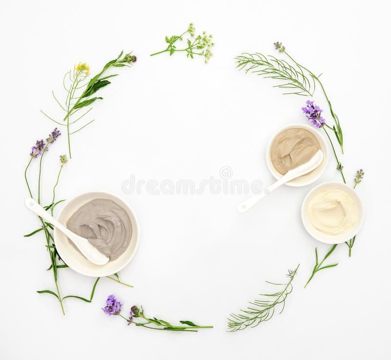 Natuurlijke die schoonheidsmiddelen met diverse soorten kosmetische klei en h worden geplaatst stock fotografie