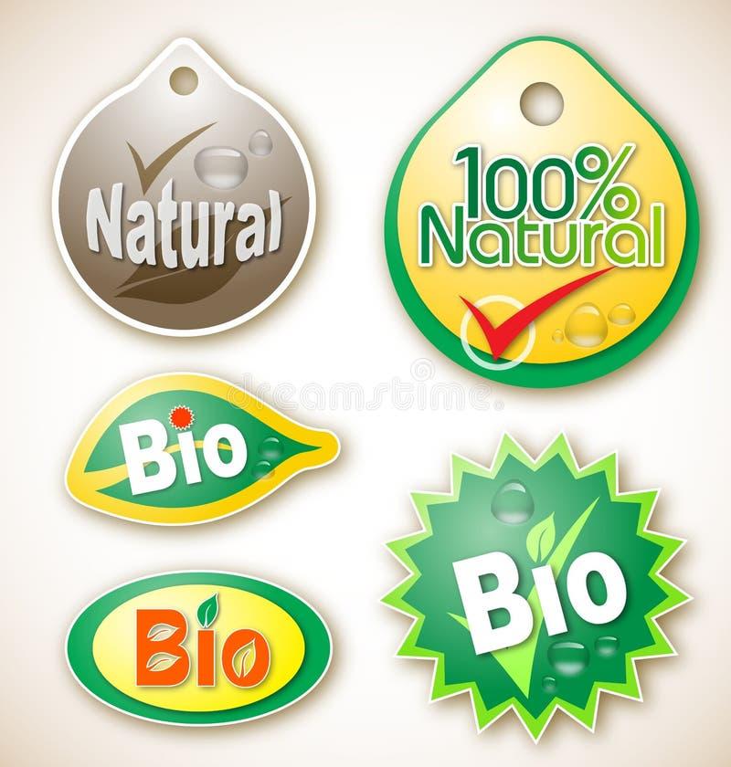 Natuurlijke en bioproductetiketten royalty-vrije illustratie