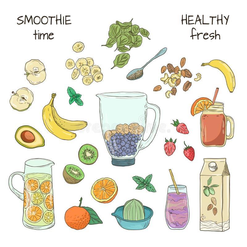 Natuurlijke fruitschok smoothie Het dieet van de Superfoodgezondheid detox De hand getrokken drank van het de zomerfruit De vecto royalty-vrije illustratie