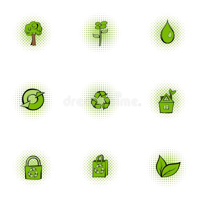Natuurlijke geplaatste milieupictogrammen, pop-artstijl vector illustratie