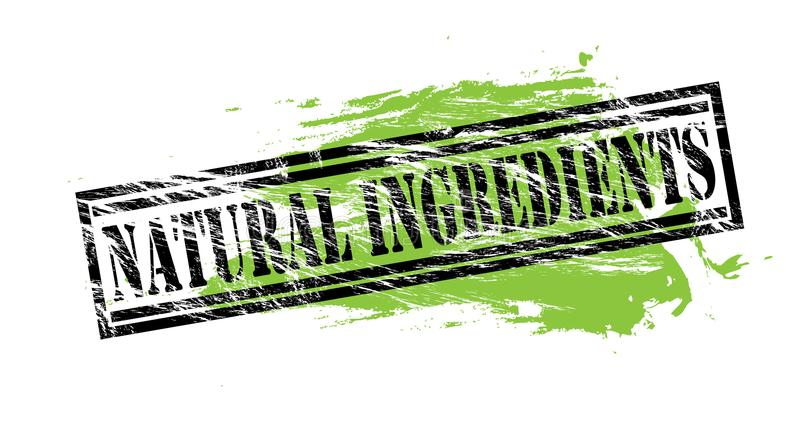 Natuurlijke ingrediënten zwarte en groene zegel op witte achtergrond stock illustratie