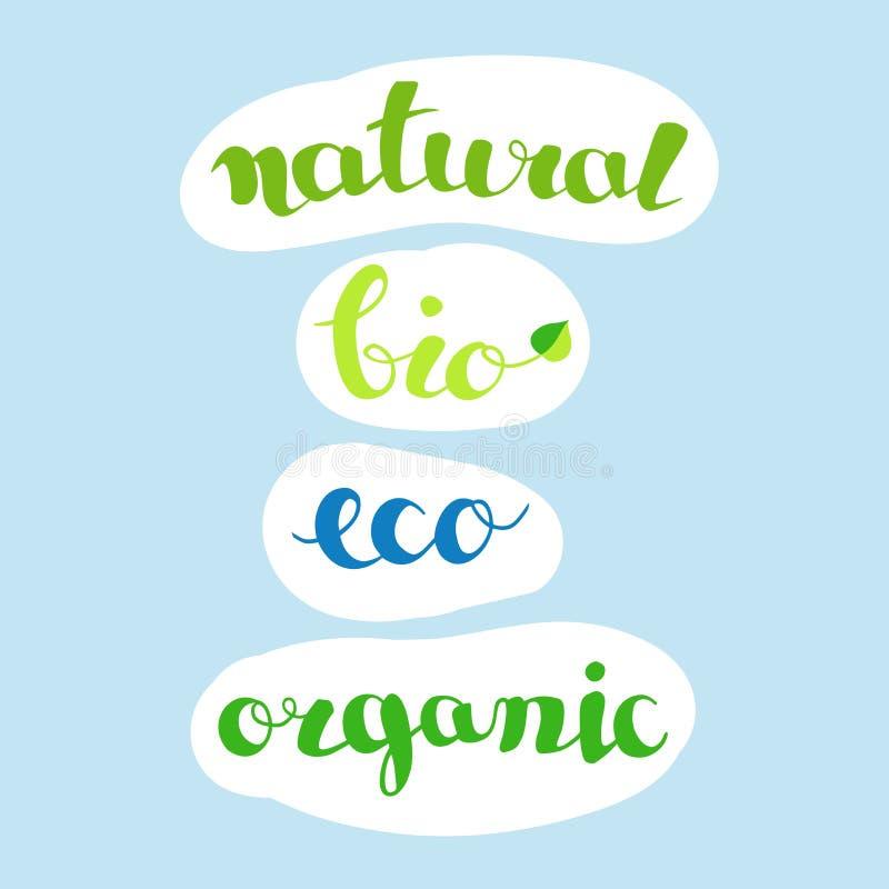 Natuurlijke inschrijvingen -, bio, organische eco, verse en natuurlijke landbouwproducten of voedseletiketten royalty-vrije illustratie