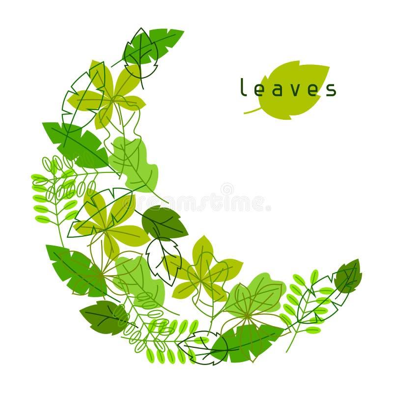 Natuurlijke kaart met gestileerde groene bladeren De lente of de zomergebladerte royalty-vrije illustratie