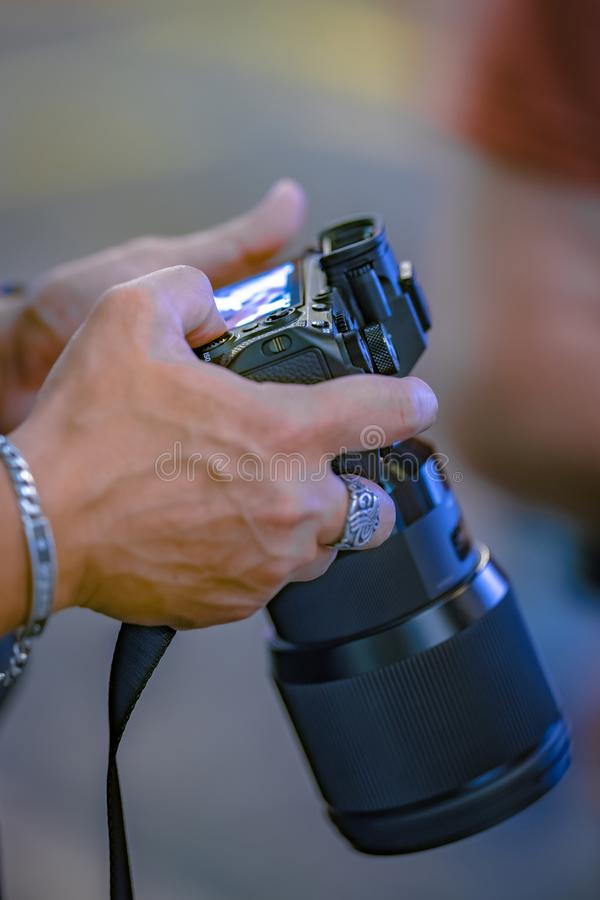 Natuurlijke Landschapsfotograaf Camera Setting royalty-vrije stock foto