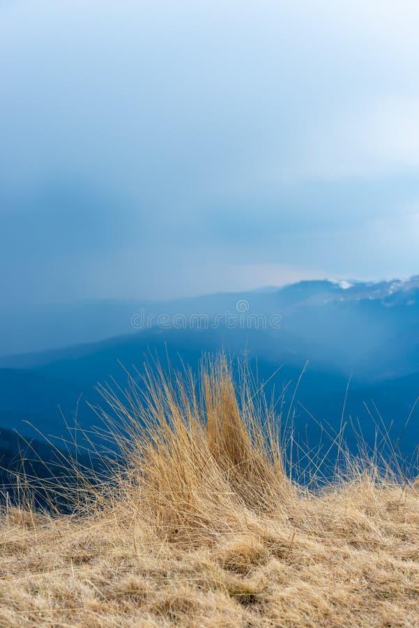 Natuurlijke landschapsmening van bergen en gras, mooie achtergrond voor ontwerpen en kaarten Vroeg de lentelandschap van droog gr royalty-vrije stock fotografie
