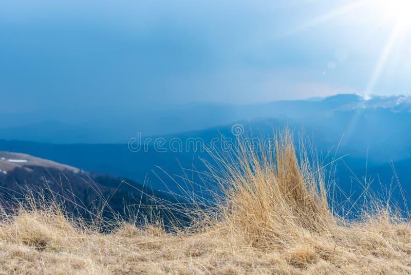 Natuurlijke landschapsmening van bergen, gras en sterke zonstralen, mooie achtergrond voor ontwerpen en kaarten Vroeg de lentelan stock foto's