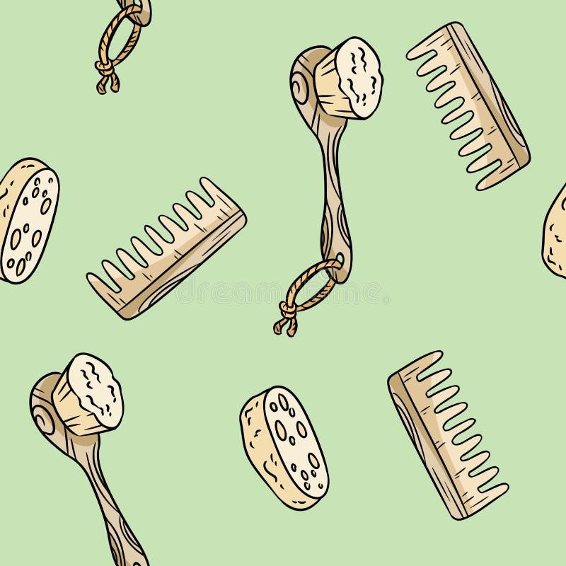 Natuurlijke materi?le doucheborstel, luffa en kam naadloos patroon Ecologisch en nul-afval product Groen huis en plastic-vrij stock illustratie
