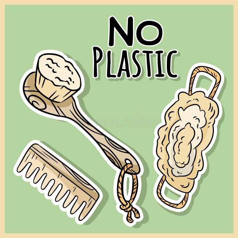 Natuurlijke materi?le douchepunten Ecologisch en nul-afval product Groen huis en hetvrije leven royalty-vrije illustratie