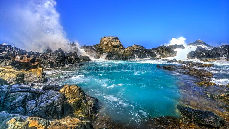 Natuurlijke Pool, het Eiland van Aruba royalty-vrije stock foto