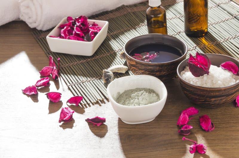 Natuurlijke producten voor schoonheidsverzorging die op behandelingen bij de kuuroordsalon wordt voorbereid royalty-vrije stock fotografie