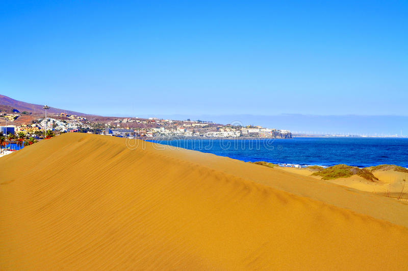 Natuurlijke Reserve van Duinen van Maspalomas, in Gran Canaria, Spanje stock foto