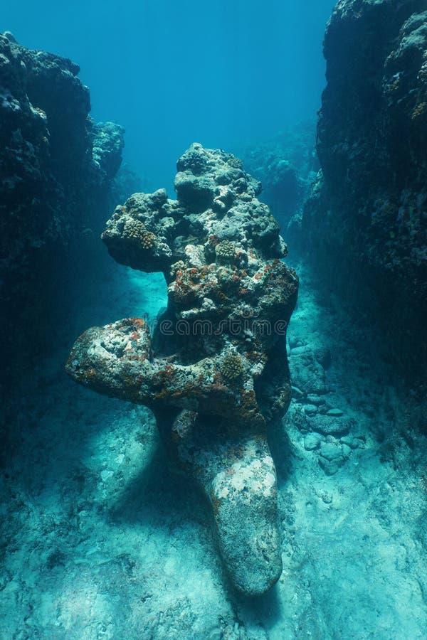 Natuurlijke rotsvorming de onderwater oceaanstille oceaan royalty-vrije stock afbeeldingen