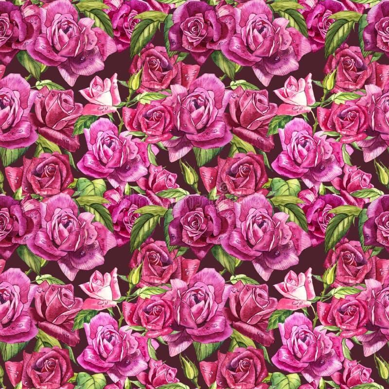 Natuurlijke roze rozenachtergrond Naadloos patroon van rode en roze rozen, waterverfillustratie stock foto
