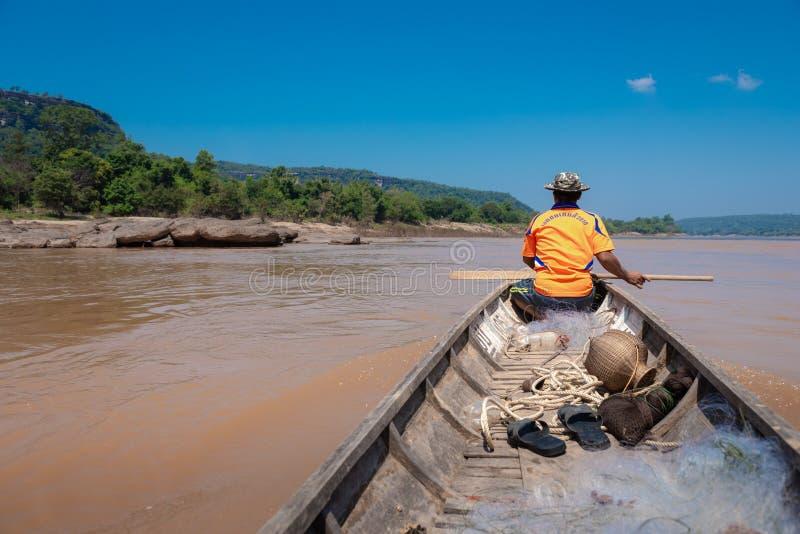 Natuurlijke scène bij Mekong Rivier, in Ubon Ratchathani, Thailand royalty-vrije stock foto