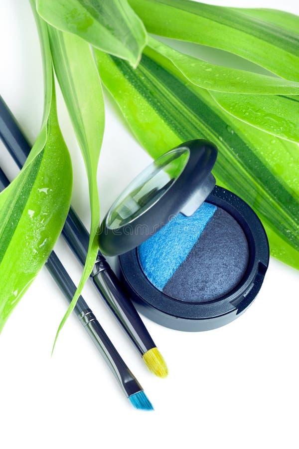 Natuurlijke schoonheidsmiddelen: oogschaduw en make-upborstels royalty-vrije stock fotografie