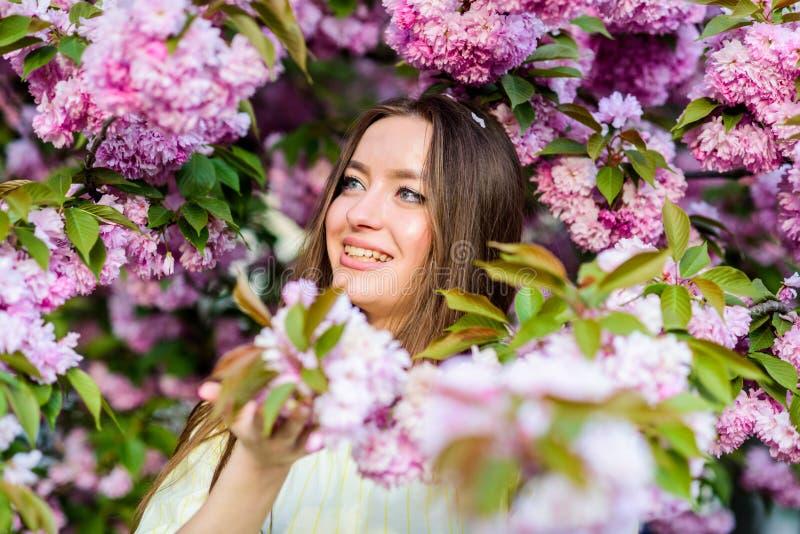 Natuurlijke Schoonheidsmiddelen voor Huid Bloemenparadijs Meisje in de bloem van de kersenbloesem Sakuraboom het bloeien Schoonhe stock foto's