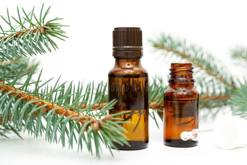 Natuurlijke schoonheidsremedie Kleine fles essentiële pijnboomolie, de takjes van de pijnboomboom, alternatieve geneeskunde royalty-vrije stock fotografie