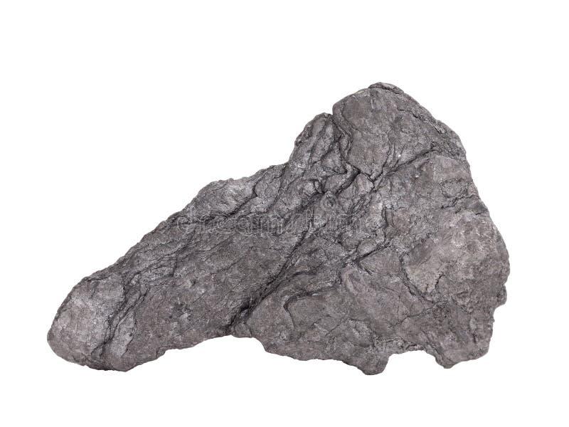 """Natuurlijke steekproef van """"zacht mineraal grafiet†van klasse van inheemse elementen, wijziging van koolstof op witte achtergro royalty-vrije stock fotografie"""