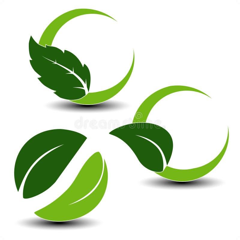 Natuurlijke symbolen met blad vector illustratie