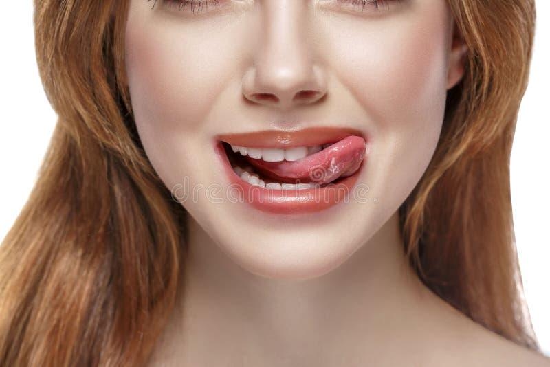 Natuurlijke tong open mond stock fotografie