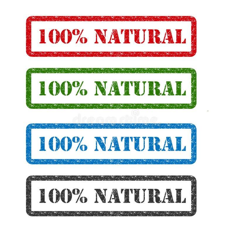 100% natuurlijke vastgestelde rubberzegel die op achtergrond wordt geïsoleerd vector illustratie