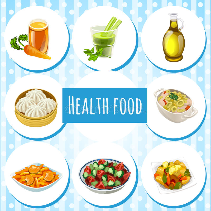 Natuurlijke voeding, acht pictogrammen van schotels en dranken royalty-vrije illustratie