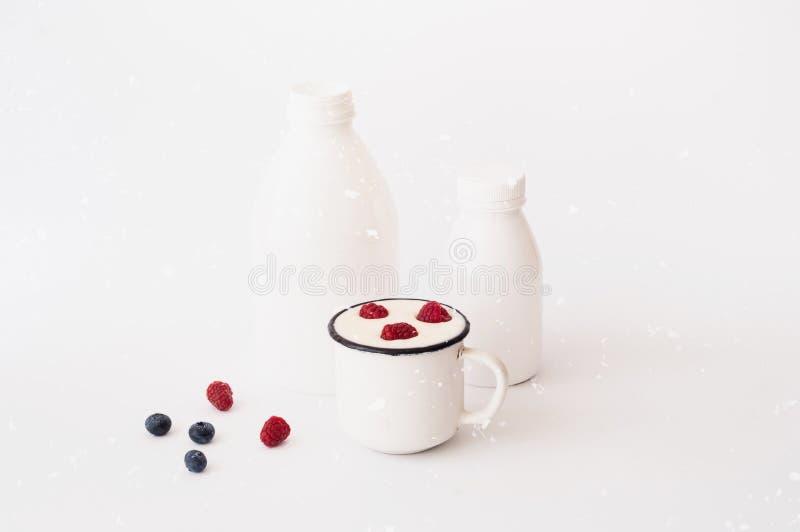 Natuurlijke yoghurt met bessen Het concept biologische producten stock foto