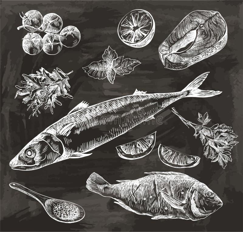 Natuurlijke zeevruchten Ingrediënten en kruiden voor het koken van vissen vector illustratie