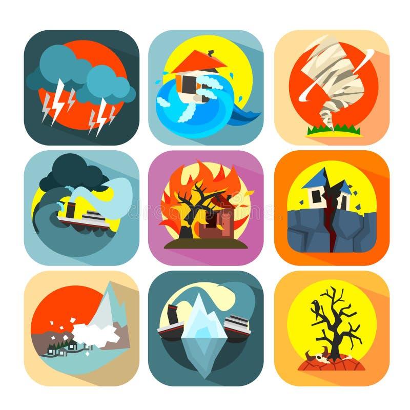 Natuurrampencatastrofe en crisis vlakke reeks stock illustratie